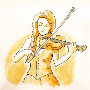 Coffee-violin-girl